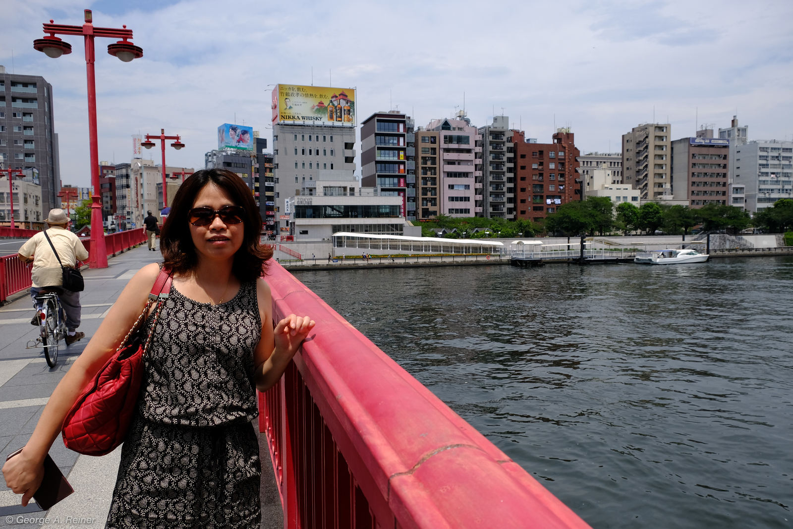 We crossed the Sumida River and caught a boat ride.