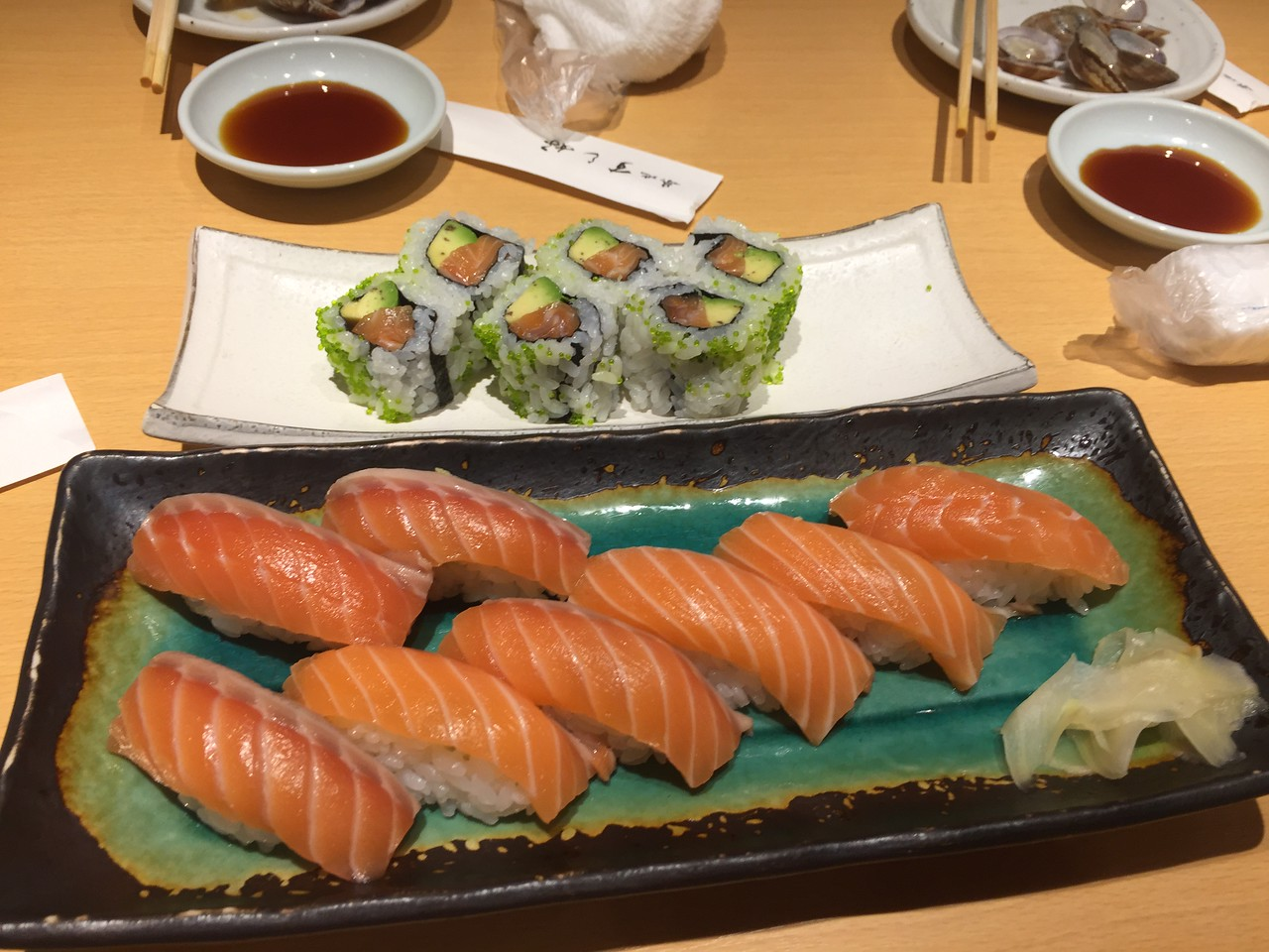 Sushi at a restaurant in Tsukji Market