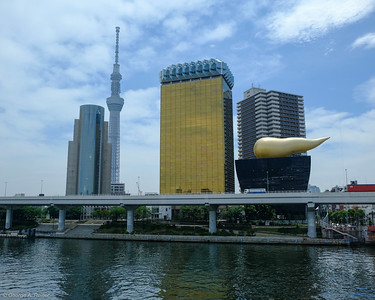 "Asahi Beer HQ (aka, ""the golden turd"") with Skytree tower to the left."