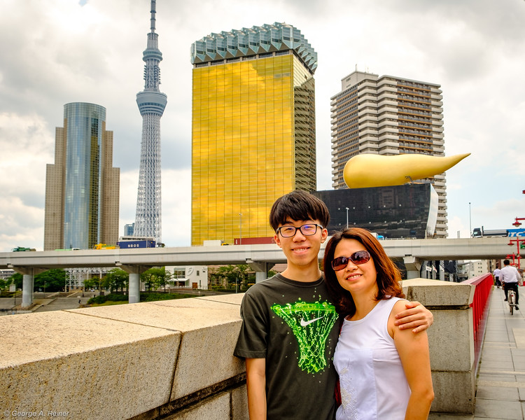 In front of the Asahi Beer HQ buildings and Tokyo Skytree