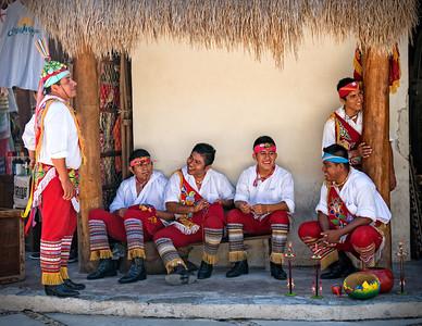 Dance of the Flyers (Voladores de Papantla) participants waiting in Costa Maya, Mexico