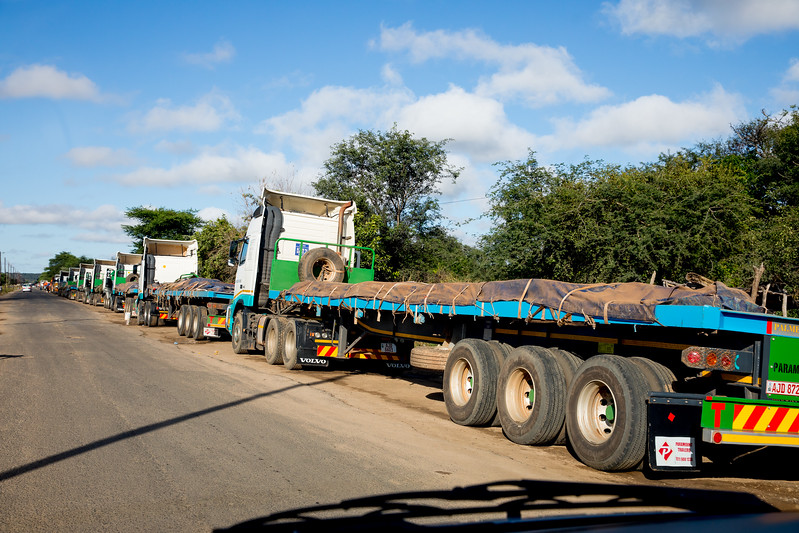 Zambia trucks copper border