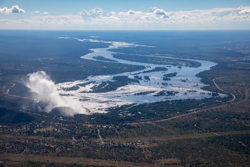 Vicotira Falls helicopter Zambia