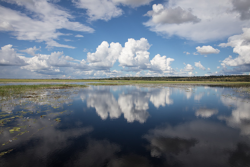 Botswana Chobezi sky clouds river reflection