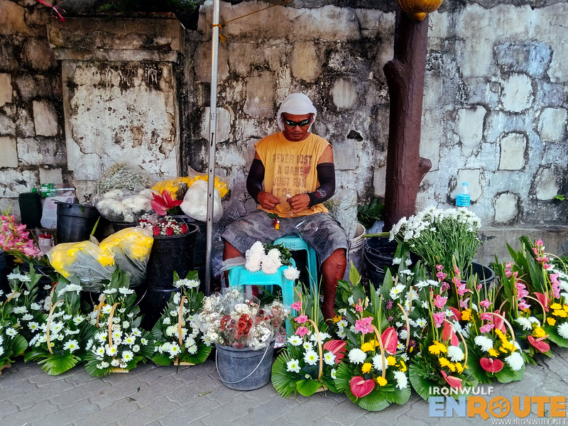 Flower vendor at Jaro Cathedral