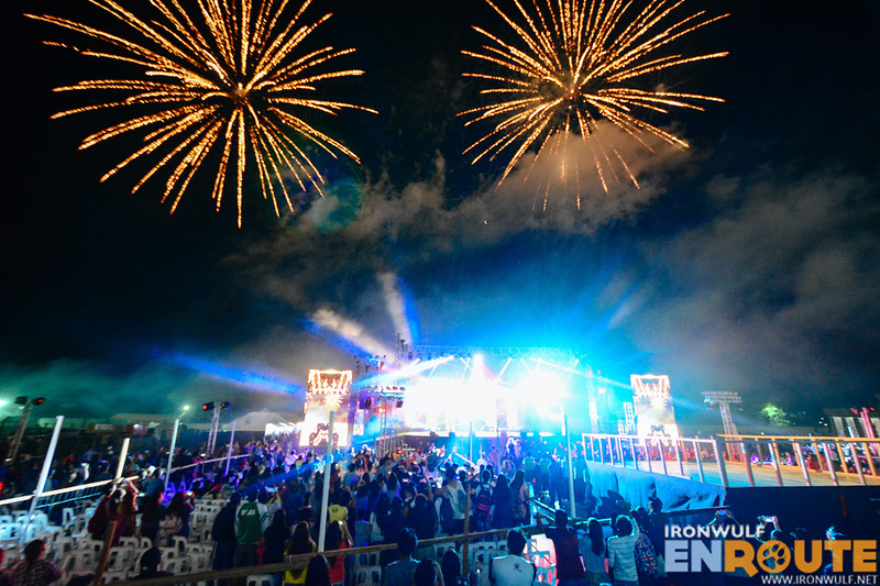The fireworks display after the concert performances in a jam-packed sports complex