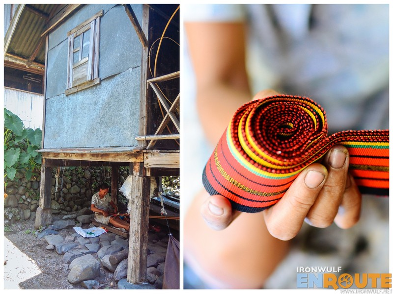 Working on weaving underneath the house (left) pantig design (right)
