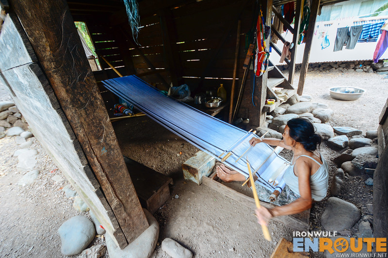 A backstrap weaver in Chapyosen creating a pattern for the deceased
