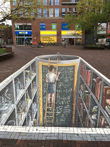 A clever tromp-l'oeil on the street in Delft.