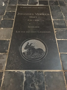 Johannes Vermeer's grave in the Old Church in Delft.