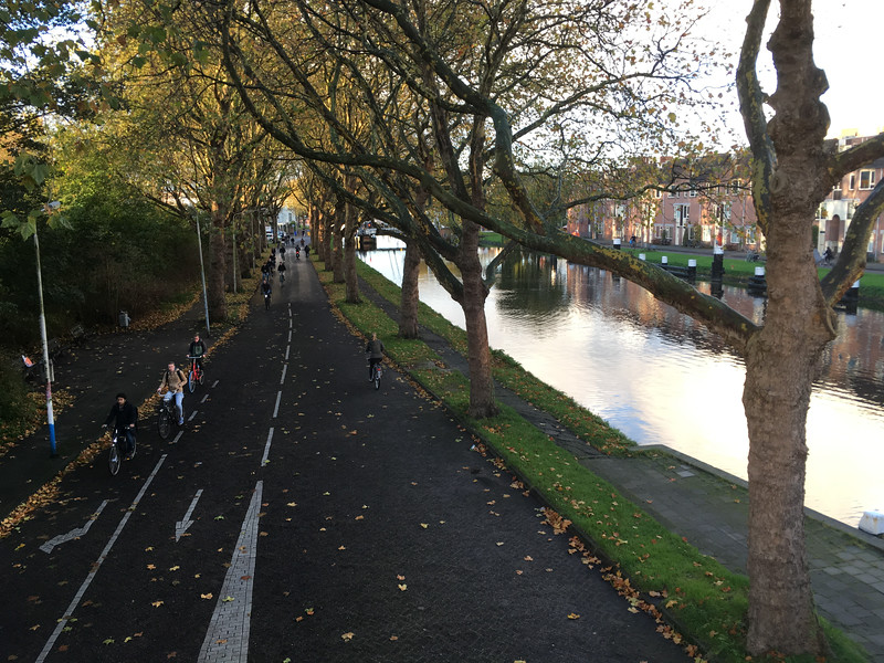 A few of the thousands of bicycle commuters on their way to school and work in Delft.