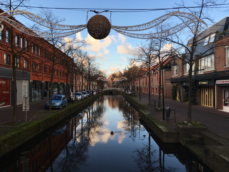 Delft canals are decorated for winter.