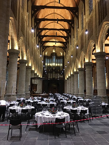 Nieuwe Kerk in Delft - with tables set for a formal dinner.