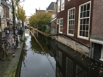 Delft streets often parallel canals.