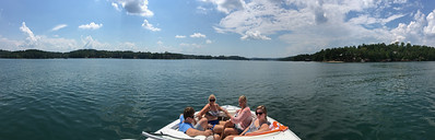 Andy, Amy, Ashley and Mara sit on Lake Keowee waiting for the Total Eclipse of 2017.