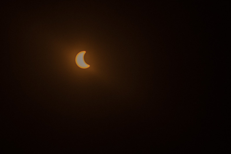 The eclipse begins. Solar eclipse 2017, viewed from Lake Keowee South Carolina.