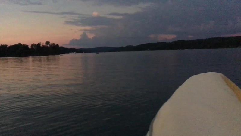 The moment of totality arrives as we sit in a boat on Lake Keowee.  Wow!  Unfortunately the iPhone does not capture the sun well...