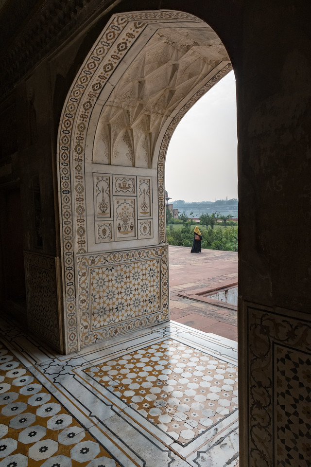 A woman passes by, as seen from inside Itmad-ud-Dauluh, aka the Baby Taj.
