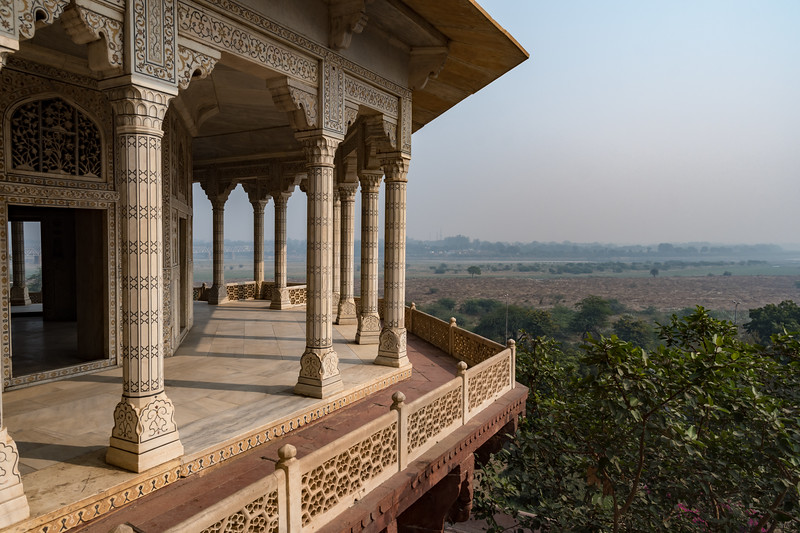 Hazy view from Shah-Burj - Shah Jehan's palace prison - Agra Fort.