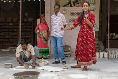 Demonstration of blue pottery craftsmanship, Jaipur.