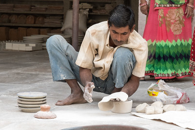 Demonstration of blue pottery in Jaipur - here he works it like dough.