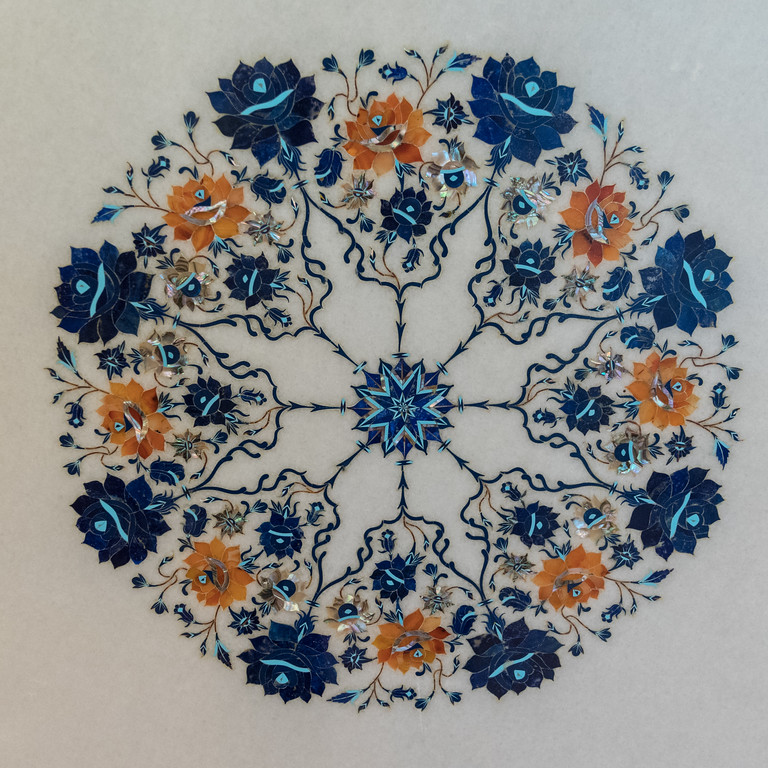 An example of the intricate inlay work (semi-precious stones inlaid in marble), at an Agra shop.