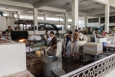 A factory making paper from shredded, used hosery.