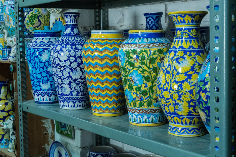 Blue pottery in Jaipur.