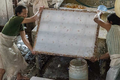 Workers cover the slurry with fabric, and turn it over ...