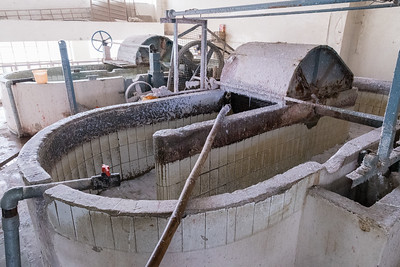 The shredded fabric is turned into a slurry.