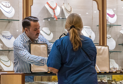 Pam shops for gemstone jewelry in Jaipur.