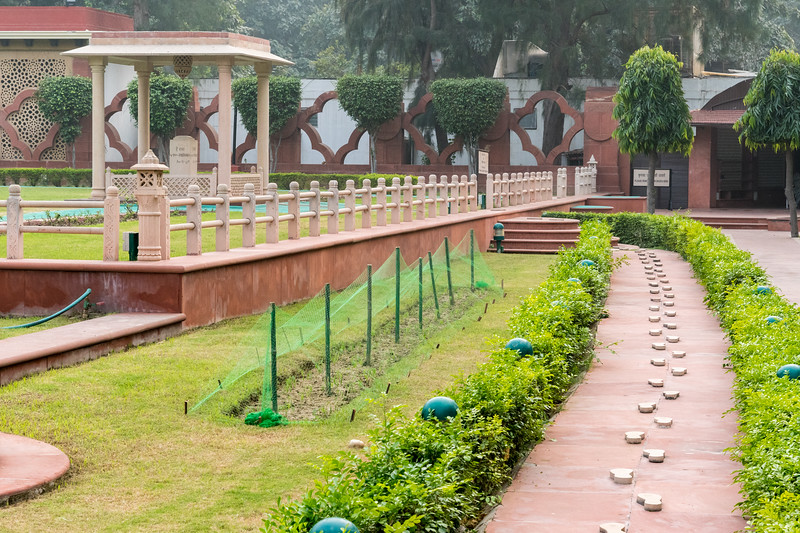 The path along which Gandhi walked to prayer, and the spot where he was assassinated.