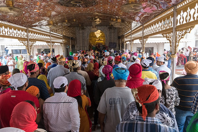 Visitors and worshipers queue for entry into the gold-plated interior of the Sikh temple, Delhi.