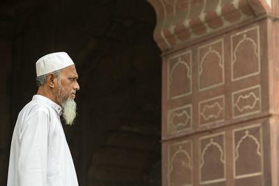 An elderly man at Jama Masjid, Delhi.