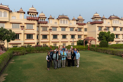 The Dartmouth group at the Taj Jai Mahal Palace hotel in Jaipur. L to R: Renata, Rashid (guide), Bob, David, Pam, Kip, Mary, Sam, Val, Stephanie, Sue, Charlie, Reena, David, Eileen.