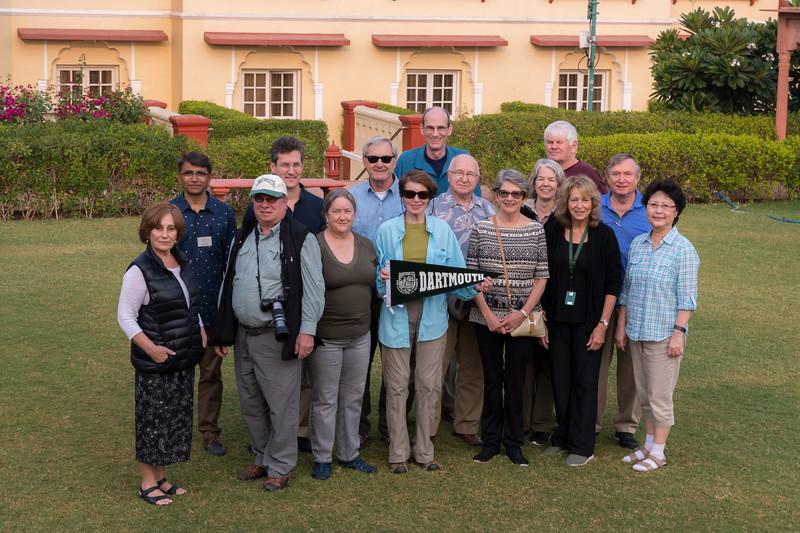 The Dartmouth group at the Taj Jai Mahal Palace hotel in Jaipur. L to R: Renata, Rashid (guide), Bob, David, Pam, Kip, Mary, Sam, Val, Stephanie, Sue, Charlie, Reena, David, Eileen.