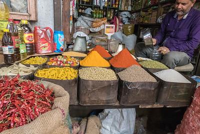 Spice vendor, village of Lalsot, Rajasthan.