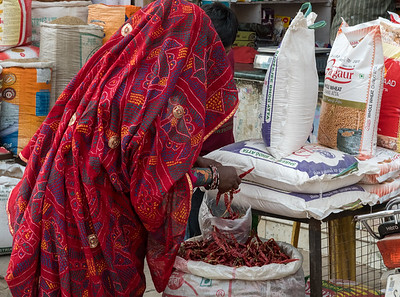 Woman shopping for chili in Shahpura, Rajasthan.