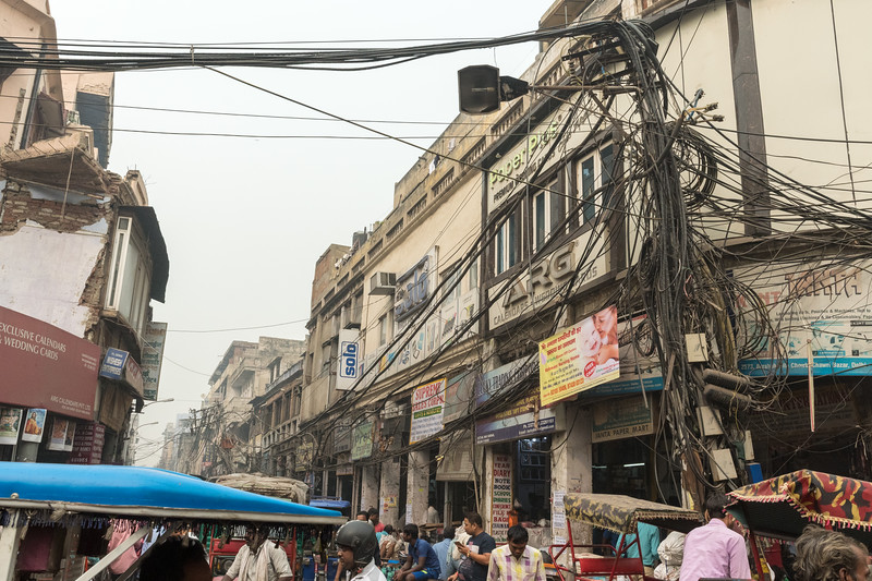 Wiring in the streets of Old Delhi.