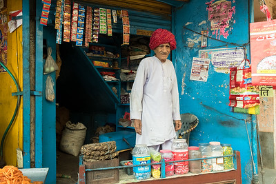A vendor of tobacco & candy, village of Lalsot, Rajasthan.