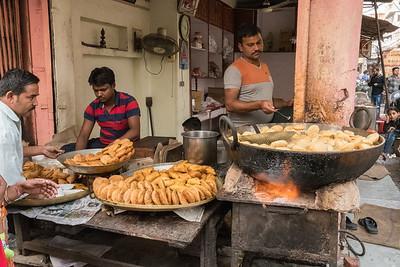 Snacks in the bazaar in Jaipur's Pink City.