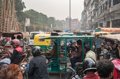 Gridlock at an intersection in the streets of Old Delhi.