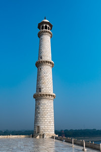 One of the riverside minarets on the Taj Mahal.