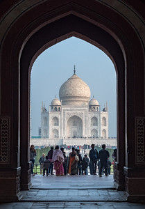 View of Taj Mahal from inside the entrance gate.