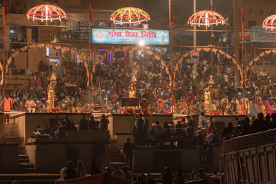 Aarthi ceremony on the Varanasi ghat.