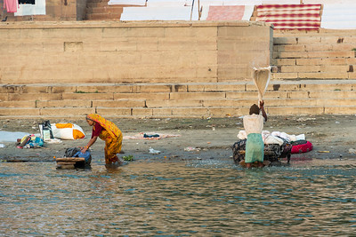 Laundry workers (dhobis) at the Dhobi ghat in Varanasi.