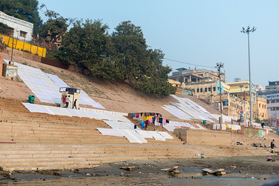 Laundry dries at the Dhobi ghat in Varanasi.