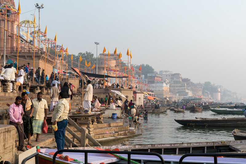 The Varanasi ghats are busy in the morning.