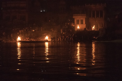 Cremation ghat at night, Varanasi.
