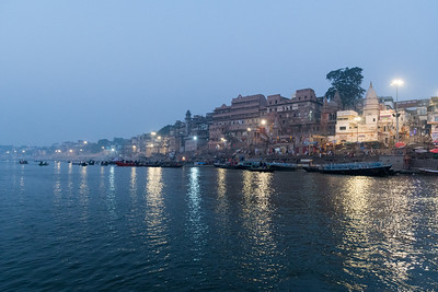 The Varanasi ghats are busy in the morning, even before sunrise.
